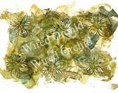 Olive Flowers Laser Copy of Original Alcohol Ink Artwork / Olive Green, Lime Green, Brown Floral Design