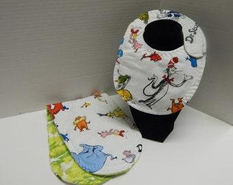 Newborn Baby  Bib and Burp Cloth Set Dr Seuss
