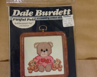 Adorable vintage teddy bear needlework kit with wood look frame