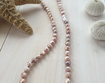 Long Freshwater Pearl Necklace in Mauve