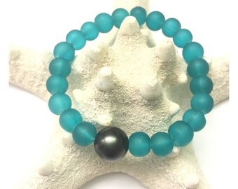 12mm Tahitian Green Shell Pearl and Aqua Frosted Glass Beaded Bracelet