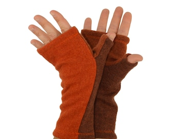 Fingerless Gloves in Mandarine Spiced Orange and Brown - Recycled Merino Wool