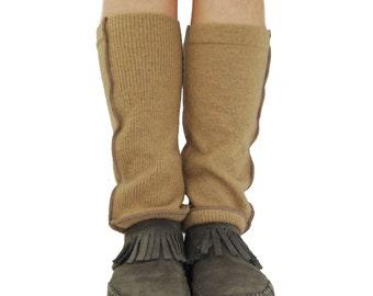 Grunge Leg Warmers in Caramel Beige - Upcycled Wool Sweaters - OOAK