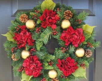FALL WREATH SALE Holiday Wreath- Hydrangea Wreath- Christmas Wreath- Winter Wreath- Door Wreath