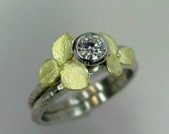 Floral Engagement Ring Set, Moissanite Wedding Band Set, White Gold, Yellow Gold Hydrangeas, Engagement Wedding Ring Set, Made to order