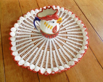 Red Round Doily, Red and White Doily, Hand Crocheted Doily, Red Centerpiece, Red Table Topper