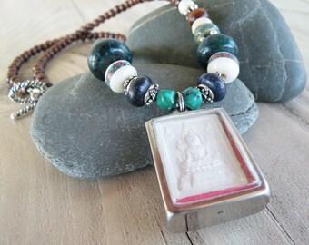 Buddha Shrine Necklace, Beaded Buddhist Necklace, Dark Brown Wood, Handmade, Blue