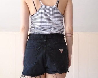 extra 30% off SALE ... 90s GUESS Black Denim High Waist Cut Offs Shorts - MEDIUM M