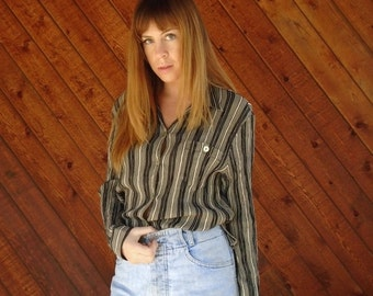 extra 25% off SALE ... Vertical Striped Button Down Long Sleeve Shirt - Vintage 90s - SMALL S