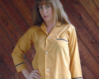 extra 25% off SALE ... Gold and Brown Tipped LS Button Down Pajama Style Shirt Top - Vintage 70s - XS S