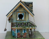Green Old Farmhouse , Unique , Handcrafted , Hand Painted and Full of Color