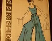 NOS Hawaii 1960s Polynesian Pattern #180 Size 14~ANELA~One Piece Palazzo Pants UNCUT