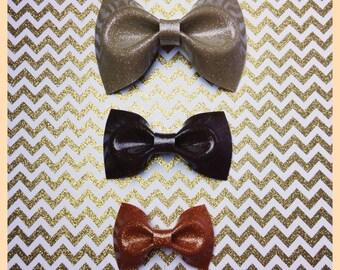 Halloween Bows Glitter Vinyl Hair Bows Rockabilly Hair Bow Pin Up Bow Sparkle Vinyl Bow Fall Bow Metal flake Bows Rockabilly Bows Gold Bows