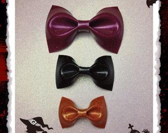 Glitter Vinyl Hair Bows Rockabilly Bow Pin Up Bow Halloween Bow Hair Clip Purple Bow Black Bow Orange Bow Psychobilly Bow Sparkle Vinyl