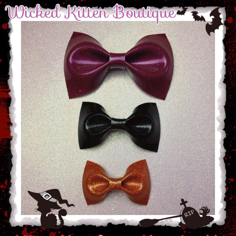 Glitter Vinyl Hair Bows Rockabilly Bow Pin Up Bow Halloween