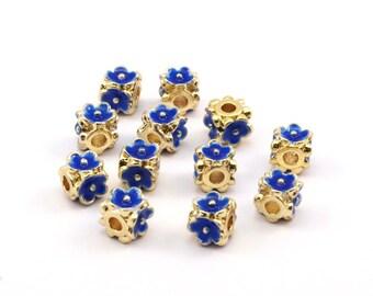 Enamel Brass Bead, 2 Brass Flower Enamel Beads (6mm)  R075