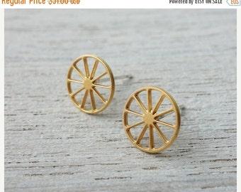 Sale 20% OFF Wheels Post Earrings, Scandinavian design, minimalist studs