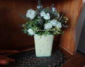 Simple Spring floral of mini White roses in soft yellow Metal pail