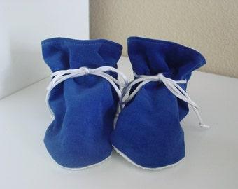 Royal Blue corduroy TV booties/soft sole shoes SIZE LARGE