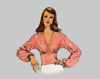 1973 V-Neck Top Pattern Simplicity 6192, Bust 34. Fitted midriff top, Long sleeve top, Kimono Sleeve, Narrow or wide sleeve Back zipper top
