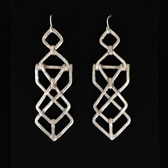 Mechanical Earrings - Sterling Silver or Bronze - Diagram - Inspired by Architecture, Modernism , and Art Deco - handmade in Austin, Tx