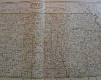 1899 State Map Kansas - Vintage Antique Map Great for Framing 100 Years Old