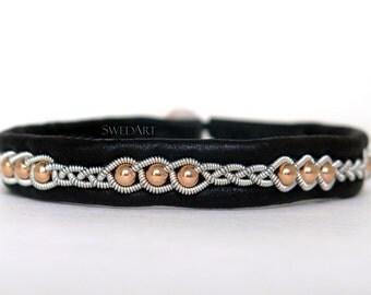 SwedArt B175 Rose Gold Lapland Sami Reindeer Leather Bracelet with 14K Rose Gold-Filled Beads and antler Button, Black MEDIUM