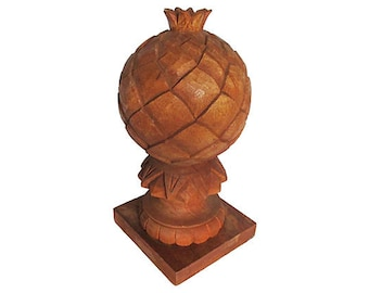 Large Carved Wood Pineapple