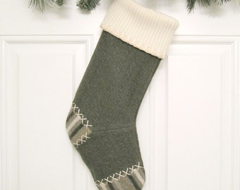 Dark Green Cable Knit Customizable Christmas Stocking Personalized Holiday Decoration Handcrafted from Felted Wool Sweaters no672