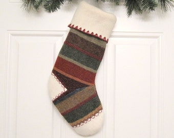 Woodland Striped Knit Customized Christmas Stocking Personalized Holiday Decoration Handcrafted from Felted Wool Sweater no706