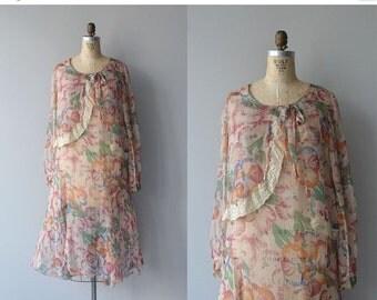 25% OFF SALE Aveleda silk dress   vintage 20s dress   floral silk 1920s dress