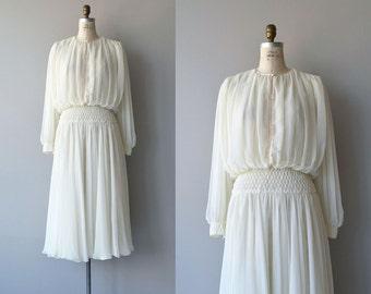 Aline Marelle dress |  vintage 1980s chiffon dress | cream 80s designer dress