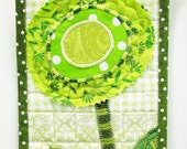 mini wall quilt- Irish poppy in green- appliqued, bright, St. Patrick's Day, Ready to ship, ships free to USA