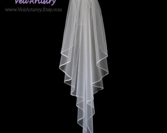 Short Wedding Veil, Sunbeam Veil, 1-Tier Veil, Fingertip Veil, Organza Ribbon Veil, Ribbon Edge Veil, Ready to Go Veil, Handmade Veil