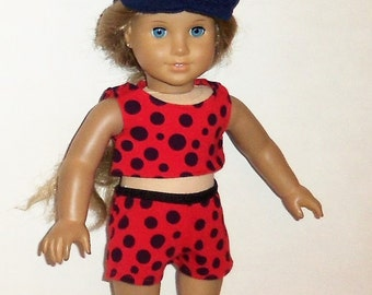 Red Shorts Outfit, Cropped, Cotton Tank Top, Polka Dots, 18 Inch Doll,  Matching Shorts, American Made, Girl Doll Clothes