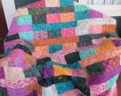Batik Lap Quilt , Sofa Throw , Multi Color Throw Quilt