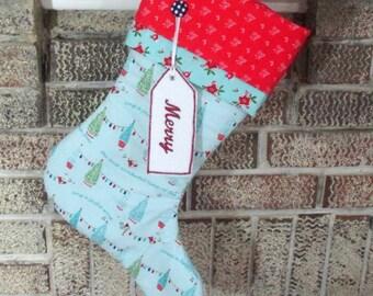 Personalized Christmas Stocking , Blue Christmas Stocking , Quilted Stocking , Blue With Trees