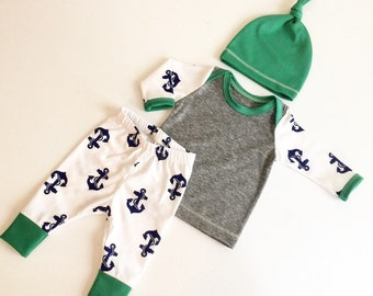 Newborn Baby Boy Coming Home Outfit, Boys Clothing, Pants Shirt with Matching Hat, Anchors, Sailor