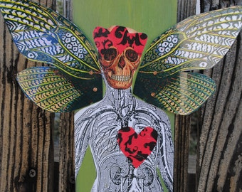 Mixed media art assemblage skull bat collage latino art