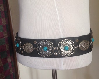 Black leather with turquoise and silver medallions, belt.festival, tribal, dance