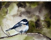 art for her bird painting bird art print bird PRINT from original watercolor painting watercolour bird home room decor artwork chickadee
