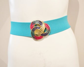 Vintage Belt Turquoise Stretch with Retro Buckle