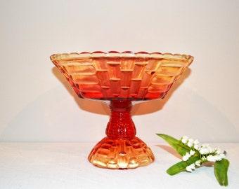 Vintage Pedestal Fruit Bowl Jeannette Glass