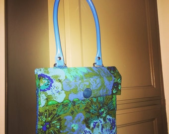 Handmade Handbag Purse Adler Vintage Upholstery Fabric Barton Pattern Turquoise, Royal Blue, Green & Black with recycled pleather handles