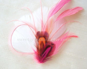 CORAL KISS - Feather Fascinator Coral Rose Pink Orange Pheasant, Ostrich Clip