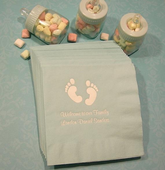 Baby Shower Napkins Personalized Baby Feet Shower Napkins Set