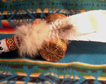Smudge Fan Smudge Feathers Prayer Fan Gourd Stitch Beaded Handle-Feathers