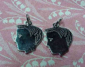 2 Vintage Sterling Boy Silhouette Head Charm Charms