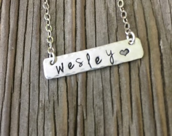 Custom stamped bar name necklace Personalized sterling silver bar Hand Stamped Jewelry mom pendant for her- girlfriend gift