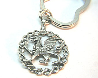 Celtic Medallion Pendant Heart Key Ring fantasy  Amulet Genuine Pewter